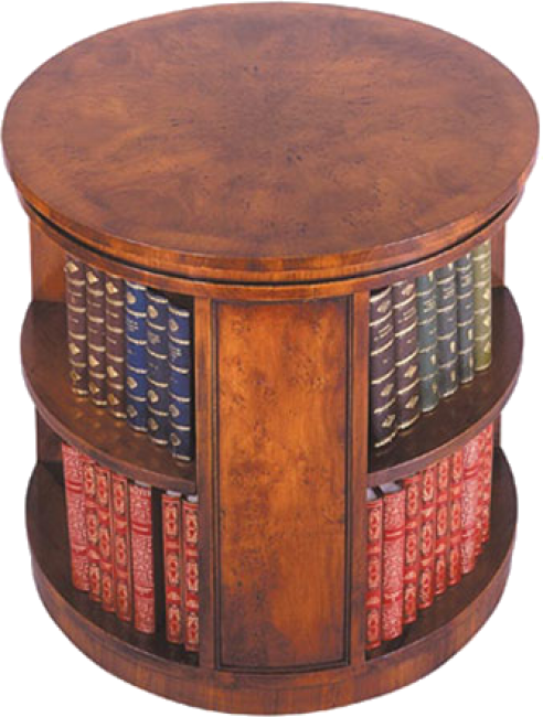 Amazing Round Book Table With Pie Shaped Veneers On Top. Open Shelves On All Sides.  Plinth Base. Available With A Revolving Base. Pictured In Yewwood.
